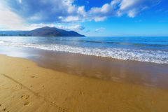 Sandy Beach With Blue Sky In Crete, Greece Royalty Free Stock Photos
