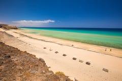 Sandy Beach bonito de Mal Nobre, Jandia, Fuerteventura, Ilhas Canárias, Espanha fotografia de stock royalty free