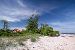 Sandy beach on Bornholm. Sandy beach at Melsted on Bornholm, Denmark stock photo