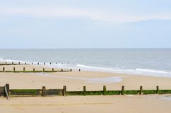 Sandy beach with breakwaters Royalty Free Stock Photo