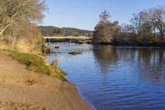 Sandy beach, bridge and trees on a river bank on a sunny winter day stock image