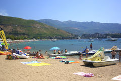 Sandy beach of Budva. Royalty Free Stock Image