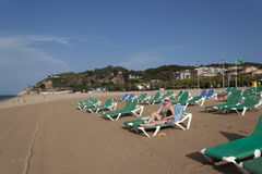 The sandy beach in Calella Royalty Free Stock Photo