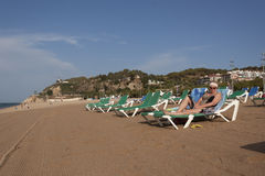 The sandy beach in Calella Royalty Free Stock Image