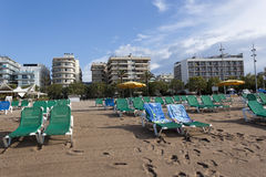 The sandy beach in Calella Stock Images
