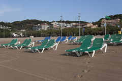 The sandy beach in Calella Royalty Free Stock Photography
