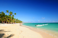 Sandy beach on Caribbean resort Stock Photo