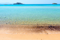 Sandy beach and clear turquoise water Stock Images