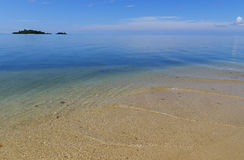 Sandy beach and clear water at Vanua Levu island, Fiji Royalty Free Stock Photography