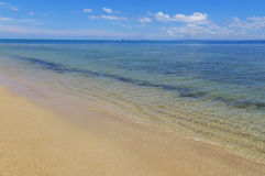 Sandy beach and clear water at Vanua Levu island, Fiji Stock Images