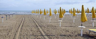 sandy beach with closed yellow sun umbrellas Royalty Free Stock Photos