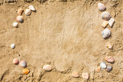 Sandy beach closeup, Seacoast sand background. Space for text. Royalty Free Stock Photography