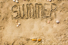 Sandy beach closeup, Seacoast sand background. Text Summer. Royalty Free Stock Images