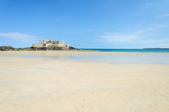 The sandy beach coast in the Bretagne Royalty Free Stock Images