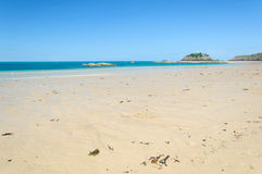 The sandy beach coast in the Bretagne Stock Images