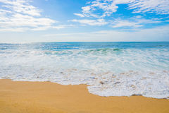 Sandy beach coast with sea ocean water for summer relax illustration Stock Photography