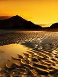 Sandy Beach Coast Sunset Norway. Ocean sandy beach coast at sunset, Norway Royalty Free Stock Photography