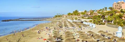 Sandy Beach com parasóis e sunbeds cobridos com sapê, Costa Adeje, dez Fotos de Stock