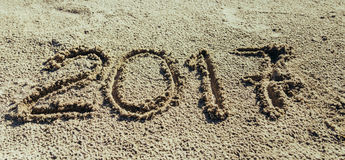 Sandy Beach Concetto di nuovo anno Fotografia Stock