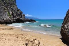 Sandy Beach, Corfu fotografia de stock