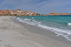 Sandy beach in the Corsican town l'Iles-Rousse Royalty Free Stock Image