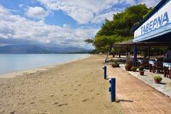 Sandy Beach de Schinias, maratona, Grécia Fotografia de Stock