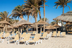 Sandy beach with deckchairs and parasols Stock Photos
