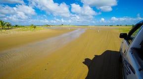 Sandy beach drive in coastal area Stock Photography