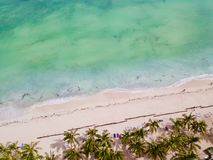 Sandy beach drone birds view Royalty Free Stock Photography
