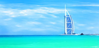 Sandy beach of Dubai with famous landmark stock photos