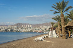 Sandy beach in Eilat, Israel in the morning Stock Image