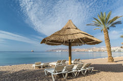 Sandy beach of Eilat after storm, Israel Stock Images