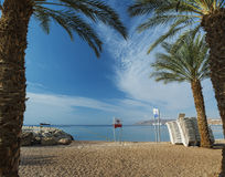 Sandy beach of Eilat after storm, Israel Stock Image