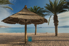 Sandy beach of Eilat after storm, Israel Royalty Free Stock Photography