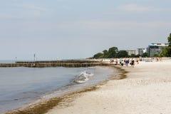 Sandy Beach em Kolobrzeg no Polônia Imagens de Stock Royalty Free
