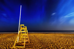 Sandy beach. Empty beach in evening, long exposure Royalty Free Stock Photography