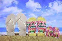 Sandy beach - Family summer vacations Stock Photos