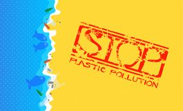 Sandy Beach with Flooded Plastic Waste. Grunge Stamp with Text: Stop Plastic Pollution. Vector Illustration: Sandy Beach with Flooded Plastic Waste. Grunge vector illustration