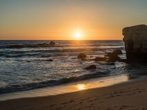 The sandy beach at Gale in the sunset. The sandy beach at Gale in the sunset on the southern Portuguese coast of the Atlantic Royalty Free Stock Image