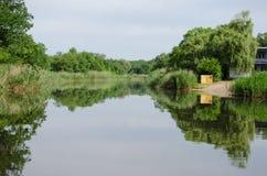 Sandy beach among green reeds. On the river Samara, Ukraine Royalty Free Stock Photography