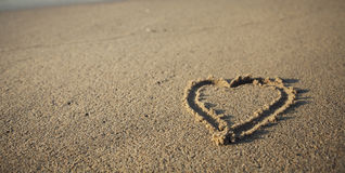 Sandy beach with a heart Royalty Free Stock Image