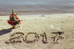 Sandy Beach Het concept van het nieuwjaar Royalty-vrije Stock Fotografie