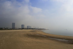 Sandy beach of houtian town in fog Stock Photo