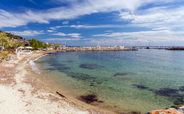 Sandy Beach In Nea Skioni Village, Halkidiki, Greece Stock Images