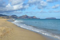 The sandy beach of the island of Porto Santo, Portugal Stock Images