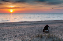 Sandy beach in Jurmala at colorful dawn Royalty Free Stock Images