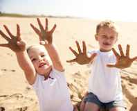 Sandy beach kids Royalty Free Stock Photo