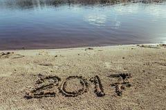 Sandy Beach Konzept des neuen Jahres Lizenzfreie Stockfotografie