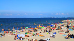 Sandy beach at Kulikovo, the Baltic Sea. KULIKOVO, RUSSIA — JULY 19, 2014: Sandy beach at Kulikovo, the Baltic Sea Stock Photo