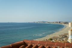 Sandy Beach Line in La Manga del Mar Menor. Sandy Beach Line - La Manga del Mar Menor, Cabo de Palos, Cartagena and San Javier, Murcia, Spain, Europe Royalty Free Stock Image
